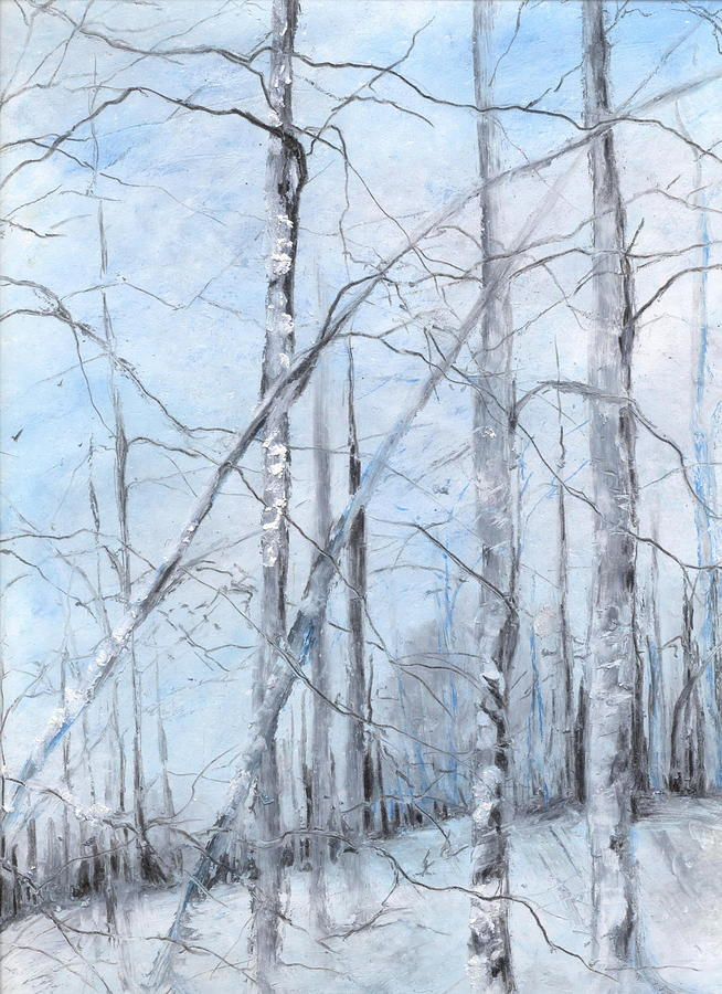 Trees Painting - Trees In Winter Snow by Robin Miller-Bookhout