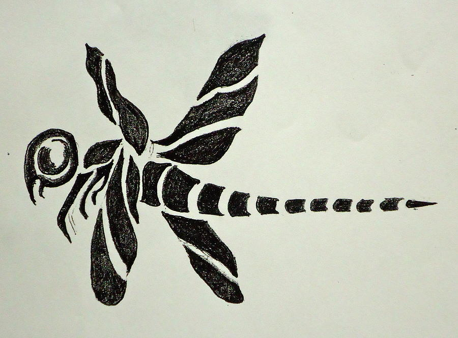 Colorful dragonfly drawing