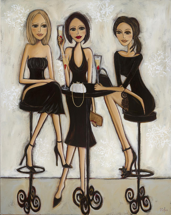 Elegant Painting - Trois Petites Robes Noires - 3 Little Black Dresses by Denise Daffara