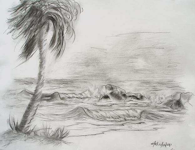 Tropical Beach Drawing by Miroslaw Chelchowski
