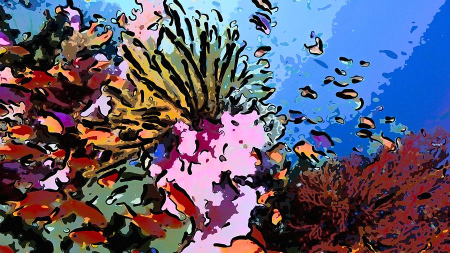 Starfish Painting - Tropical Coral Reef  2 by Lanjee Chee