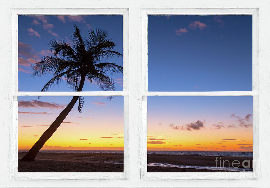 Tropical Paradise Colorful Sunset Whitewash Window View Photograph