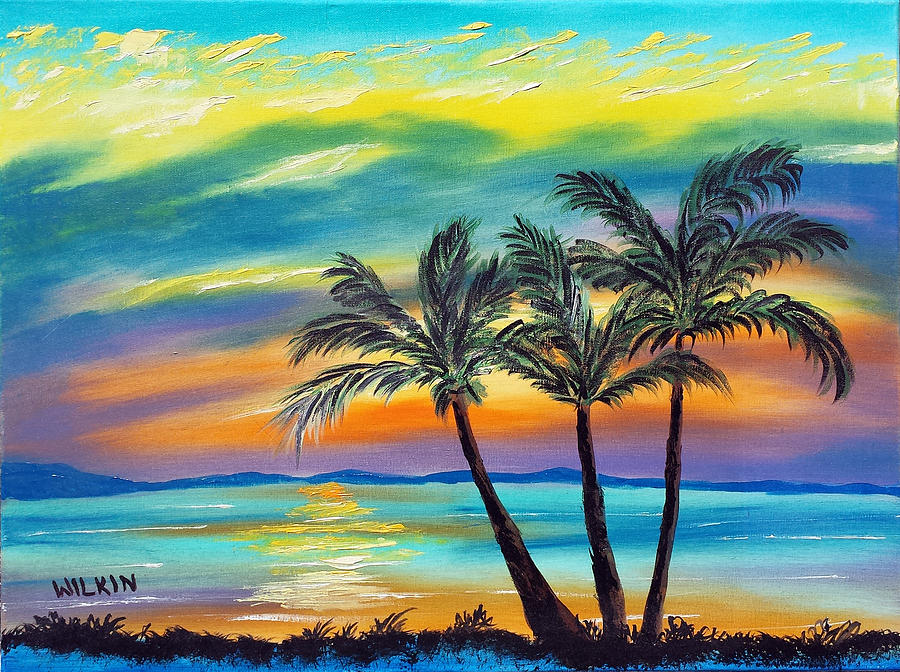 Tropical Sunset Painting By David Wilkin
