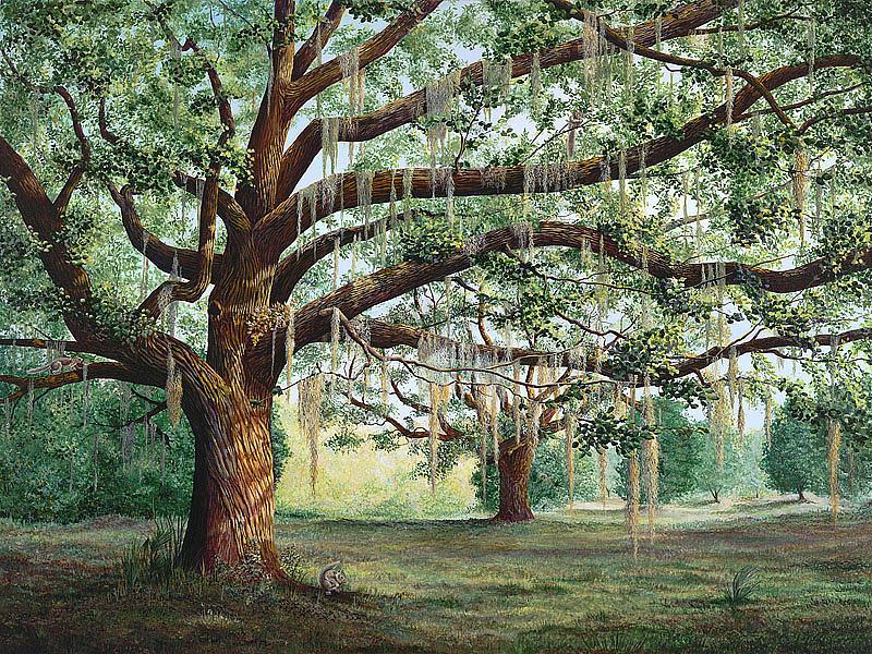 Oak Tree Painting - Tropical Trail Trio by AnnaJo Vahle