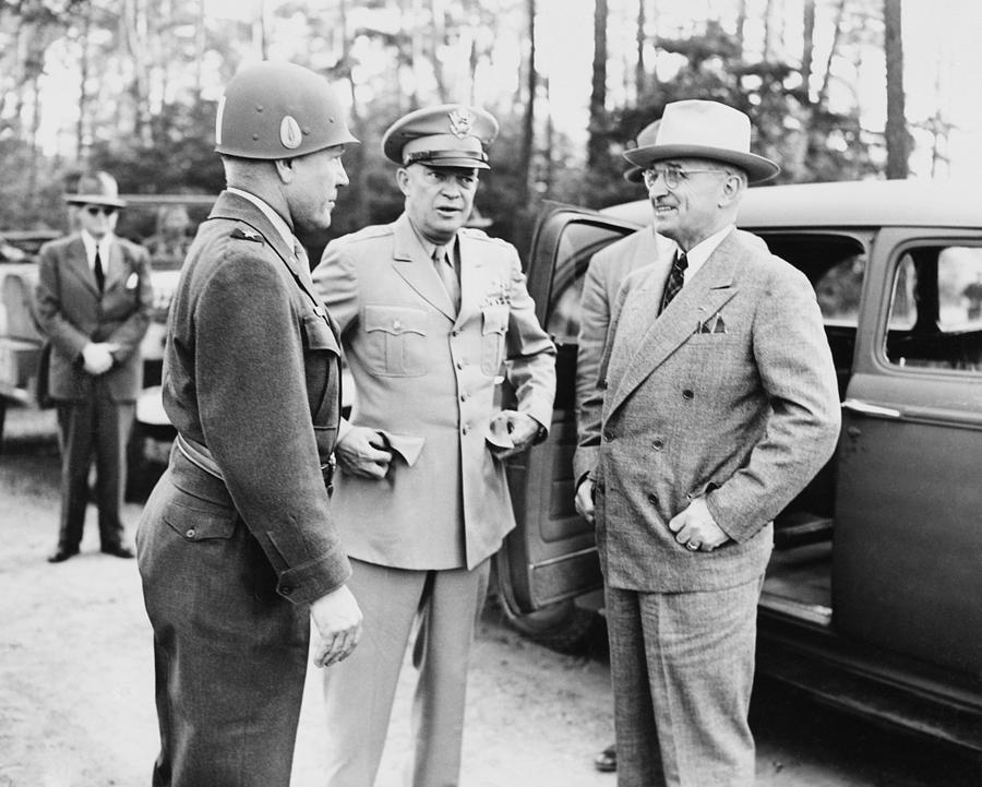 Harry Truman Photograph - Truman Eisenhower And Hickey  by War Is Hell Store