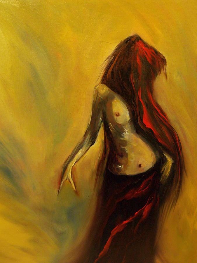 Semi Nude Woman Hair Yellow Painting - Tu Solo Tu by Niki Sands