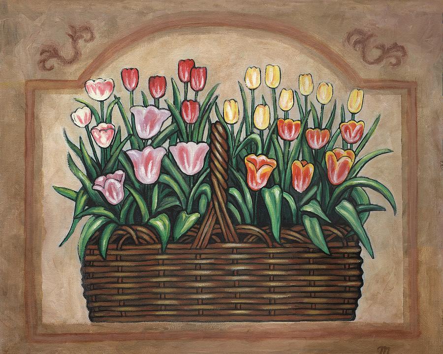 Folk Art Flower Painting - Tulip Basket by Linda Mears