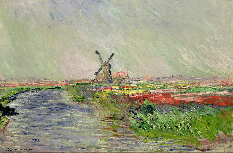 Tulip Painting - Tulip Field In Holland by Claude Monet