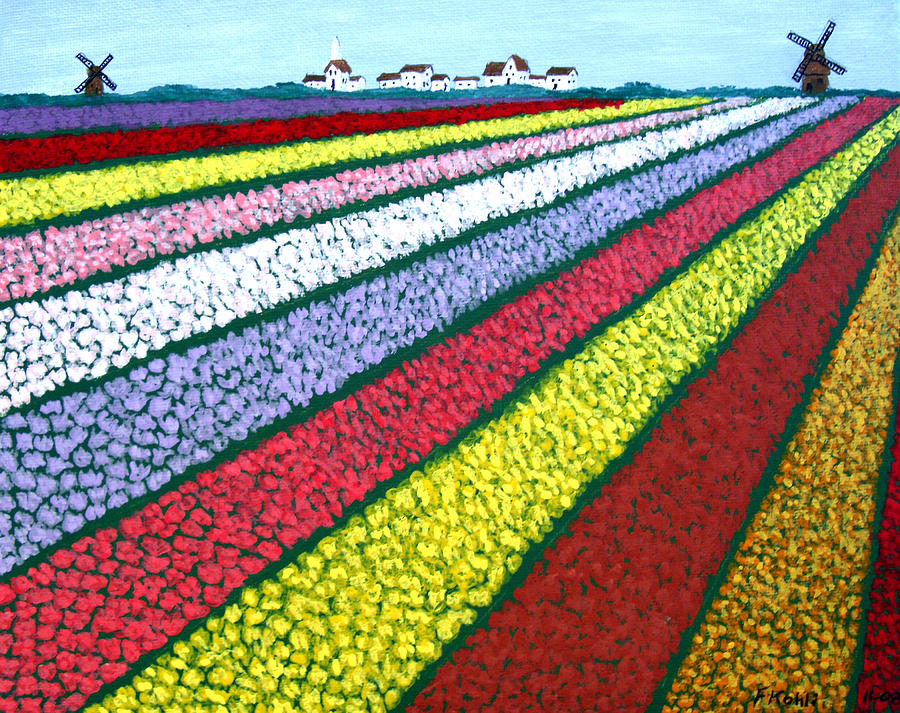 Landscape Paintings Painting - Tulip Fields by Frederic Kohli