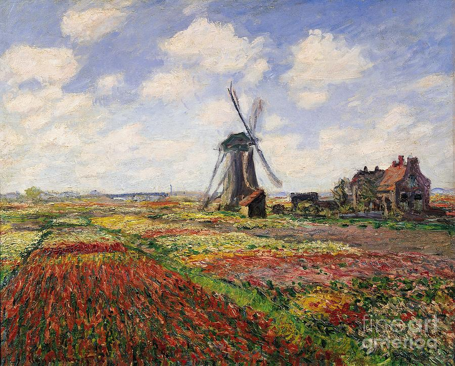 Claude Monet Painting - Tulip Fields With The Rijnsburg Windmill by Claude Monet