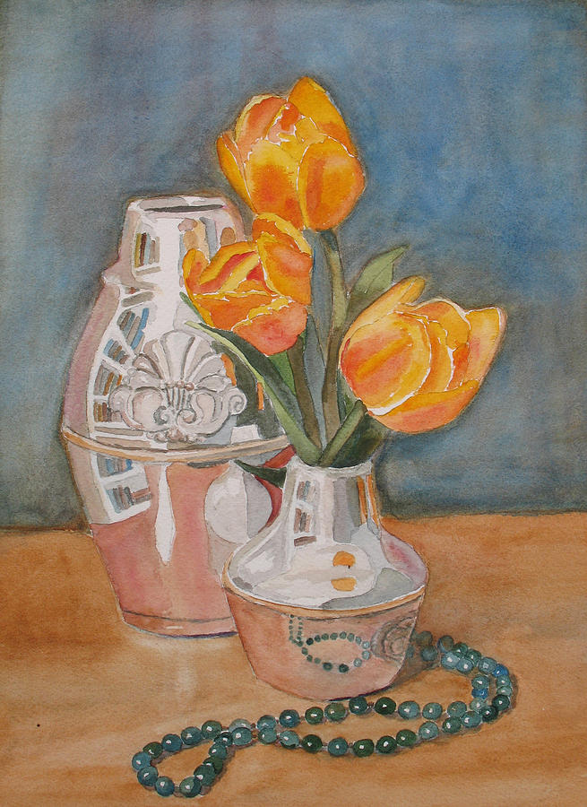 Tulips Jade And Books Painting