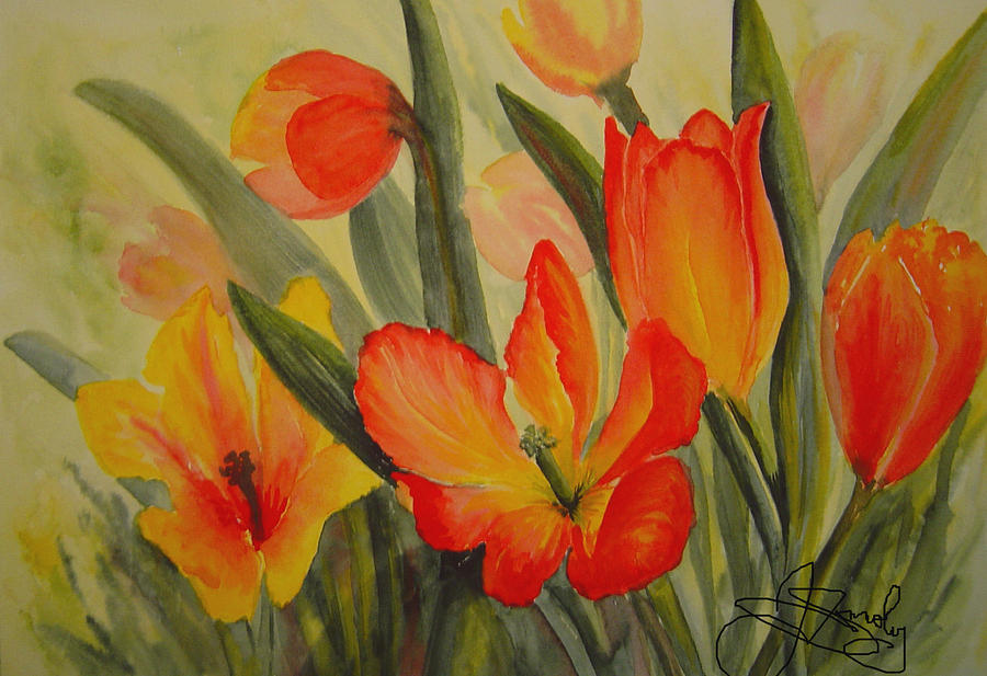 Spring Tulips Painting - Tulips by Joanne Smoley