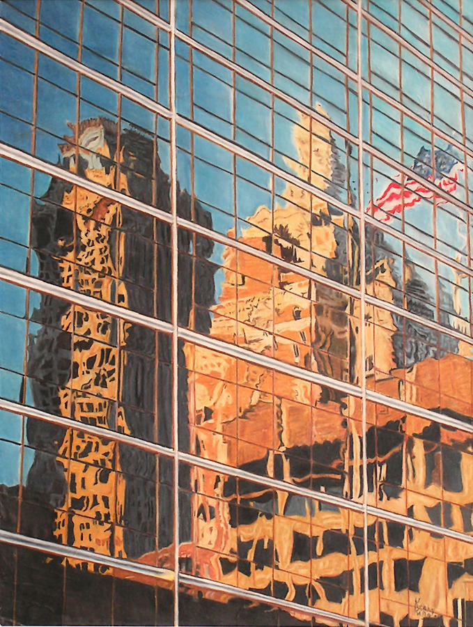 Architecture Drawing - Tulsa Relections 2 by Kenny King