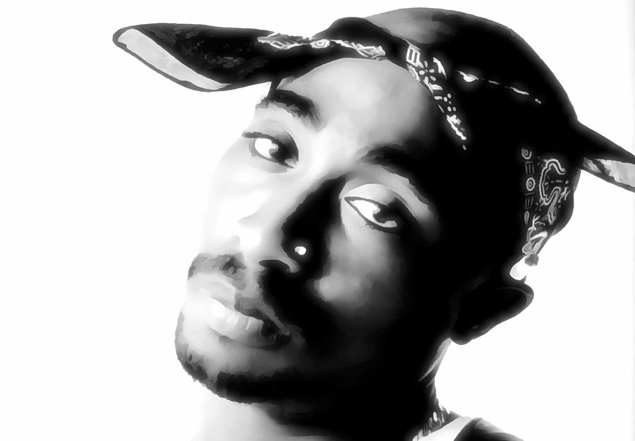 Tupac Black And White by Dan Sproul