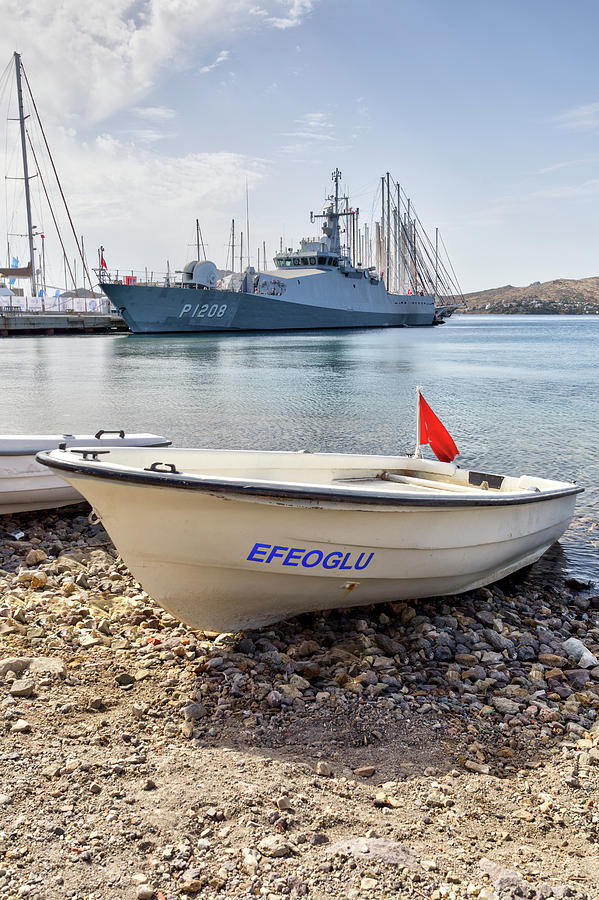 Turkish Navy Ship And Dinghy Photograph