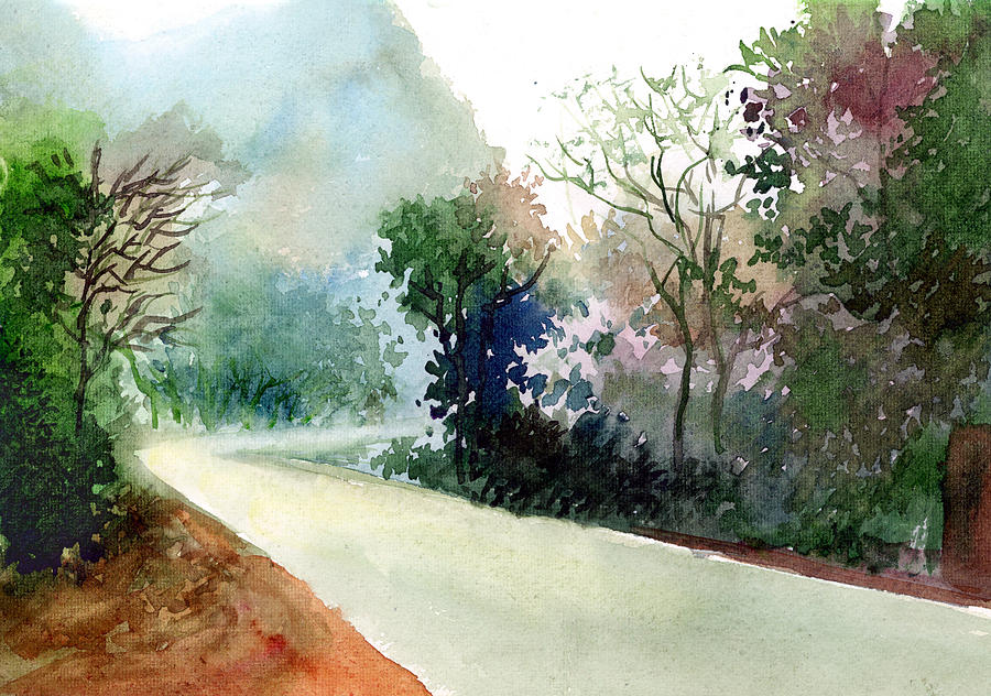 Landscape Water Color Nature Greenery Light Pathway Painting - Turn Right by Anil Nene