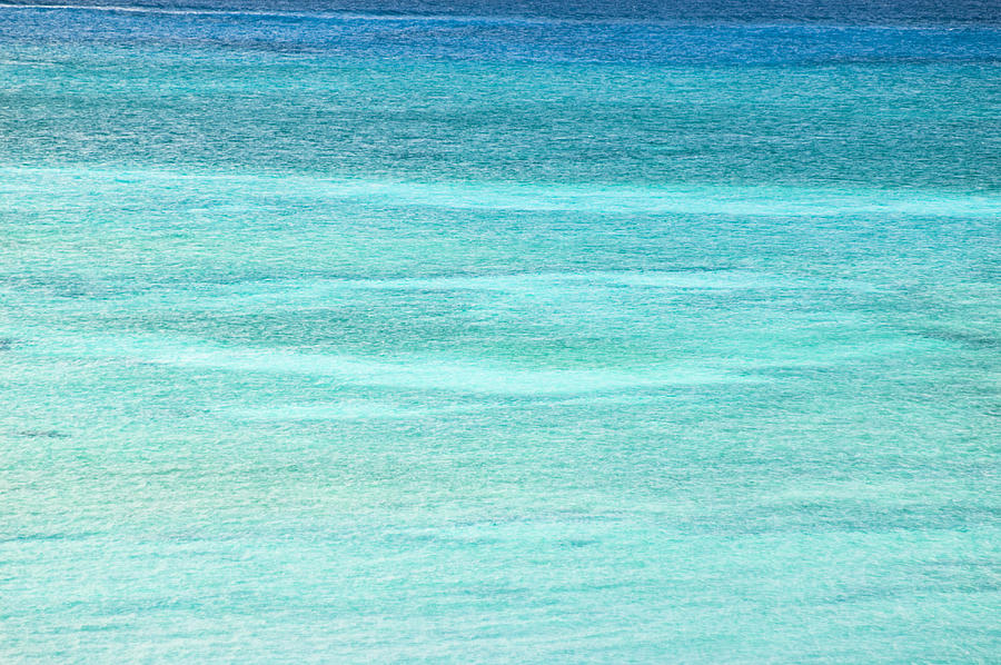 Nobody Photograph - Turquoise Blue Carribean Water by James Forte