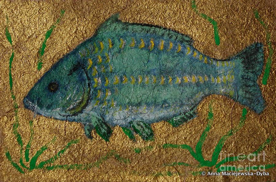 Folkartanna Painting - Turquoise Carp by Anna Folkartanna Maciejewska-Dyba
