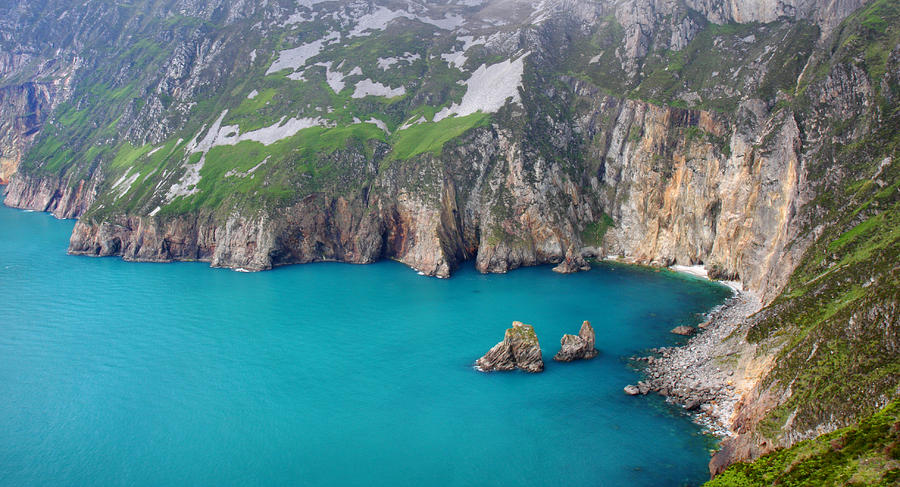 Slieve League Photograph - turquoise sea at Slieve League cliffs Ireland by Pierre Leclerc Photography