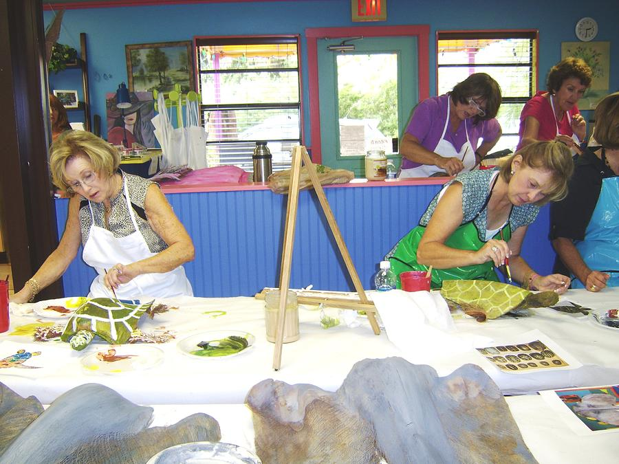 Students Painting Turtles Created From Natural Dreid Organic Media A The Art Cottage. Pyrography - Turtle Time by Ellen Burns