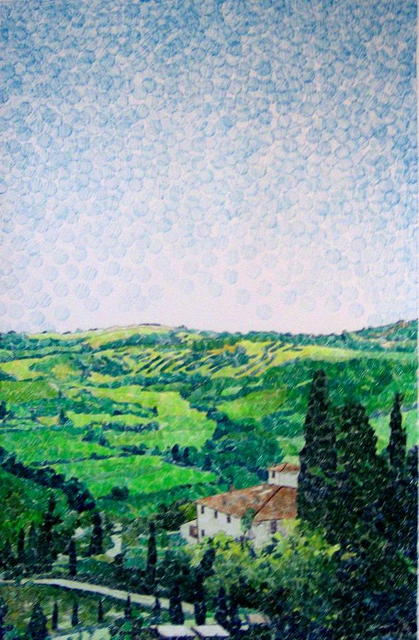 Italy Drawing - Tuscan View by Jason Charles Allen