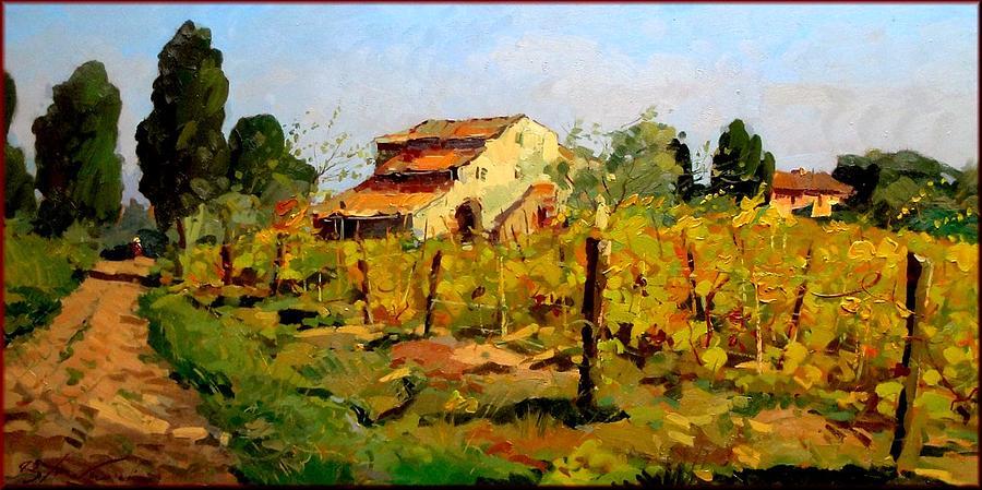 Tuscan Vineyard Painting