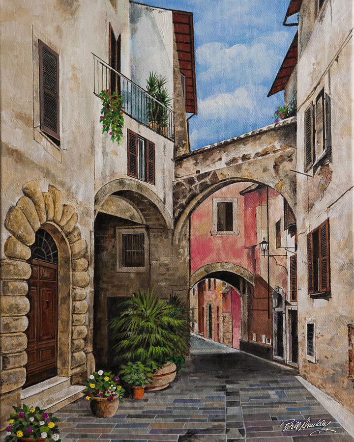 Tuscany Street Scene Painting By Bill Dunkley