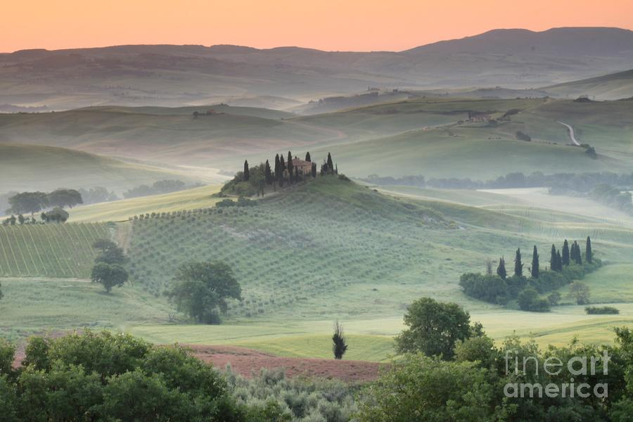 View Of The Countryside With The Belvedere In The Distance (photo) Landscape; Italian; Tuscan; Tuscany; Rural; Val D'orcia; Villa; Spring; Scenic; Atmospheric; Hilltop; Building; Architecture; Exterior; Remote; Isolated; Cloud Photograph - Tuscany by Tuscany
