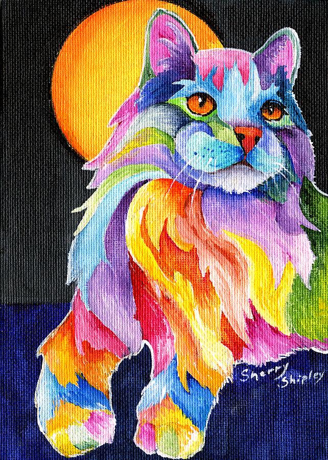 Cat Painting - Tutti Fruiti Kitty by Sherry Shipley