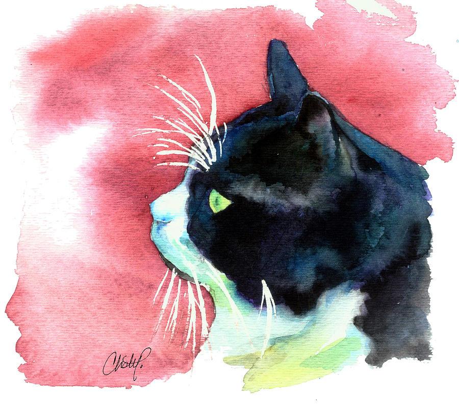 Cat Painting - Tuxedo Cat Profile by Christy  Freeman