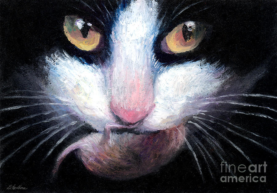 Tuxedo Cat With Mouse Painting