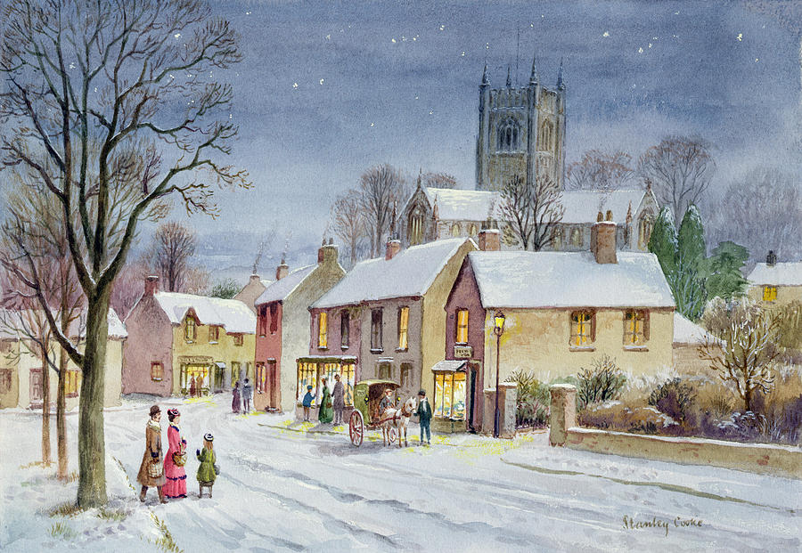 Winter; Christmas; Street Scene; Church Tower; Victorian; Pony Trap; Evening; Dusk Painting - Twilight In The Village by Stanley Cooke