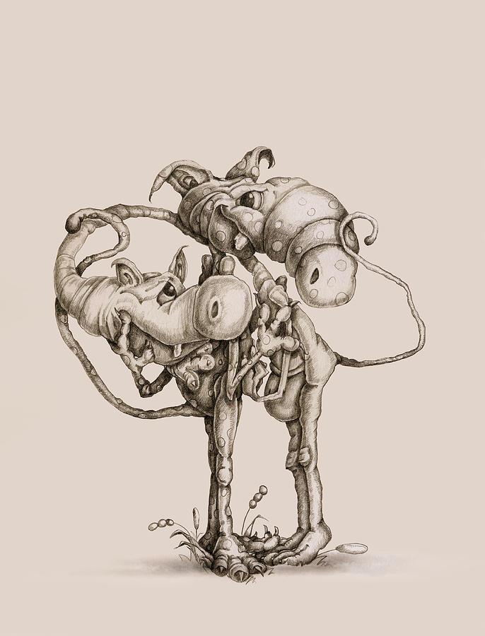 Philip Straub Drawing - Twisted by Philip and Monica Straub