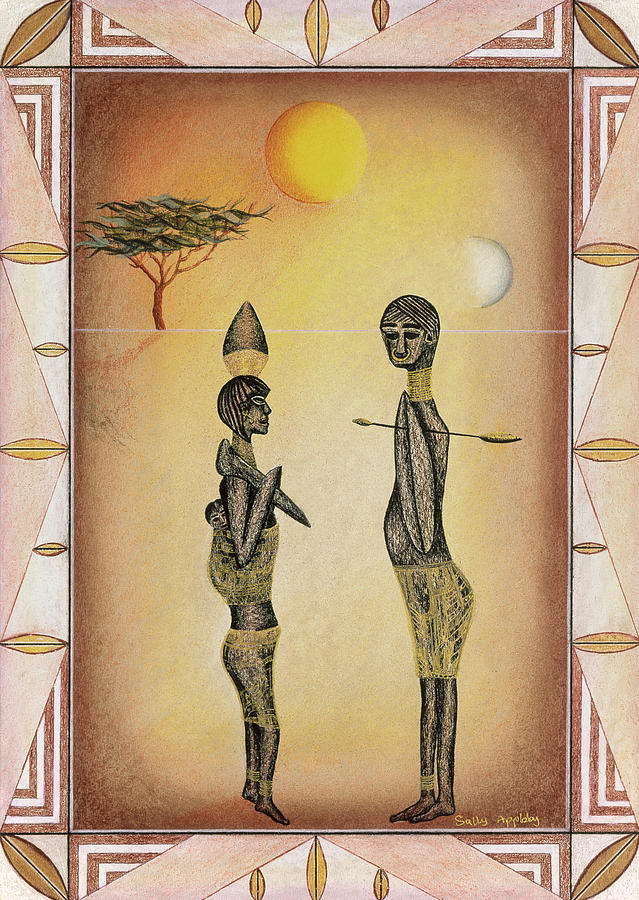 African Mixed Media - Two African Figures And Tree by Sally Appleby