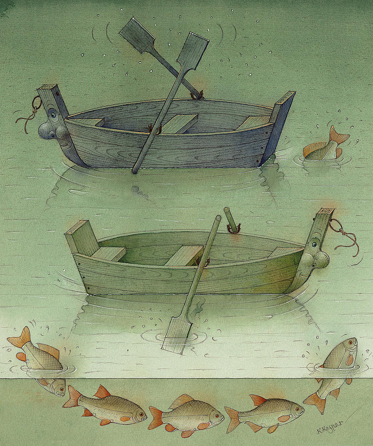 Water Sea Ocean Boat Ship Fish Painting - Two Boats by Kestutis Kasparavicius