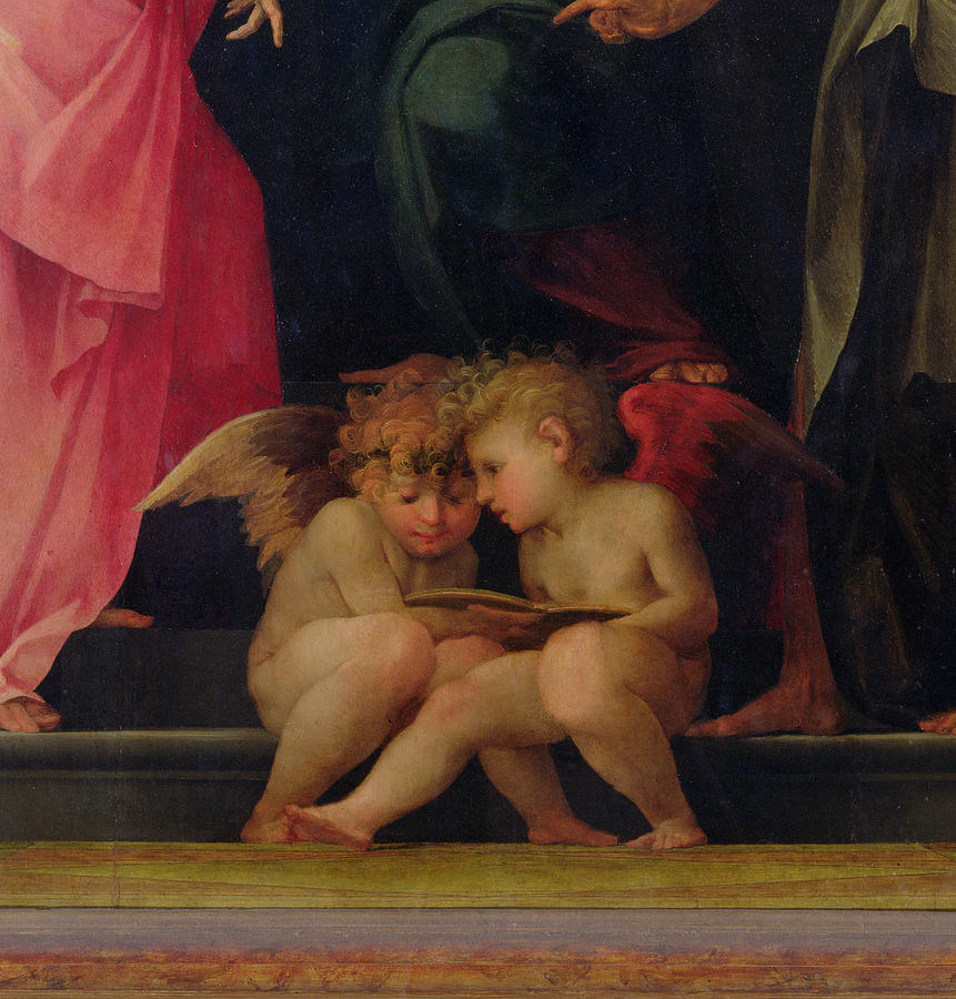 Two Cherubs Reading Detail From Madonna And Child With Saints Painting