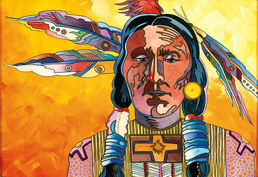 Native American Paintings Painting - Two Feathers by Bob Coonts