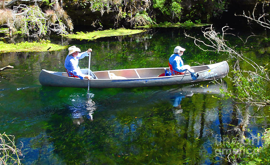 Canoe Photograph - Two In A Canoe by David Lee Thompson