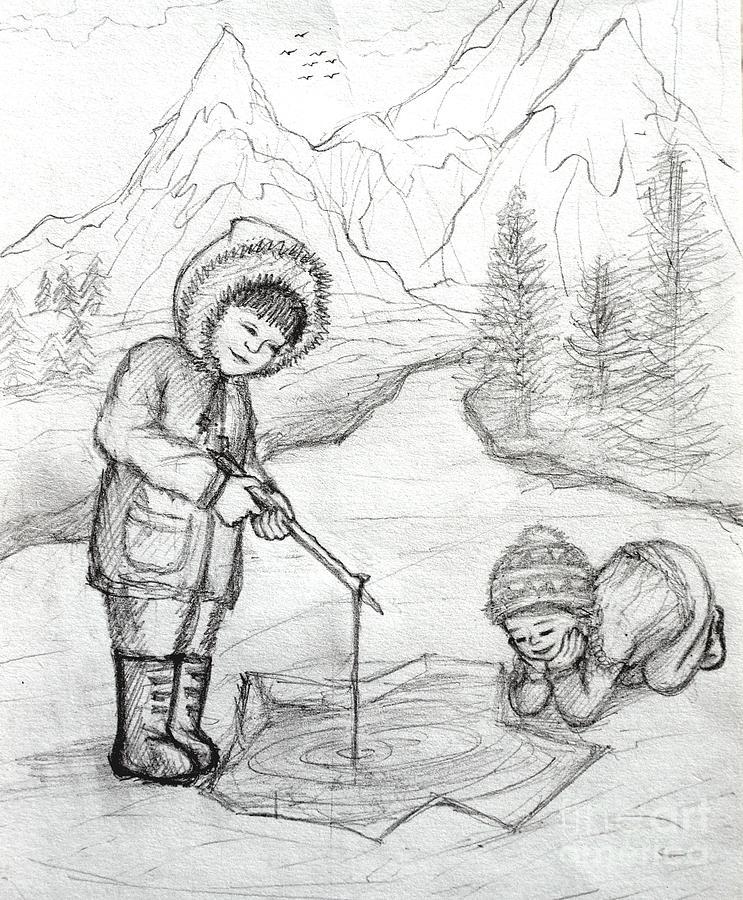 Simple eskimo coloring page