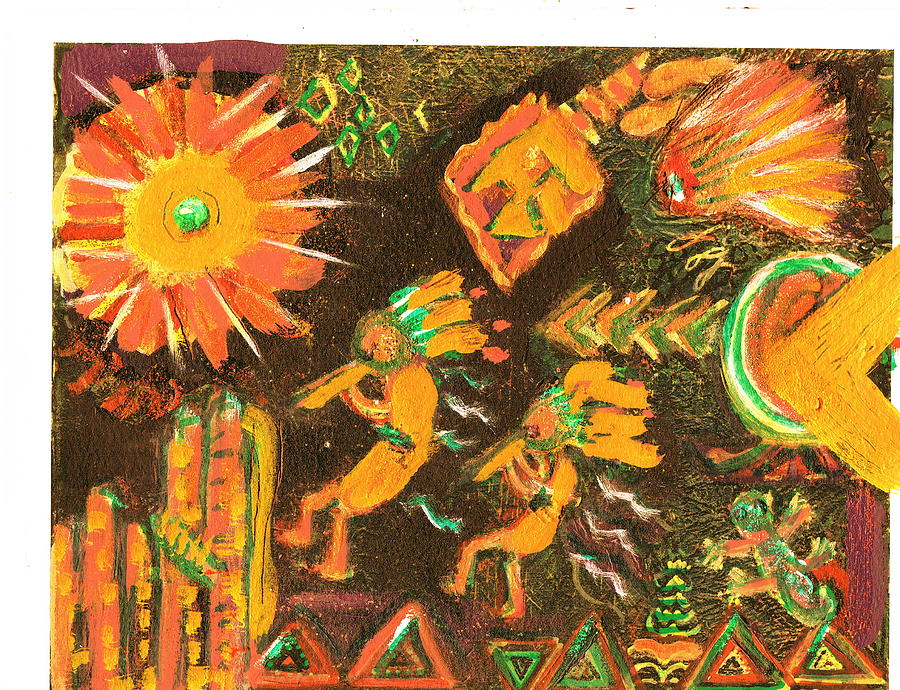 Southwestern Painting - Two Kokopellis And Friends Heading To The Sun by Anne-Elizabeth Whiteway