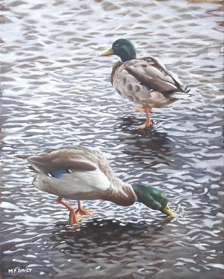 Two Mallard Ducks Standing In Water Painting