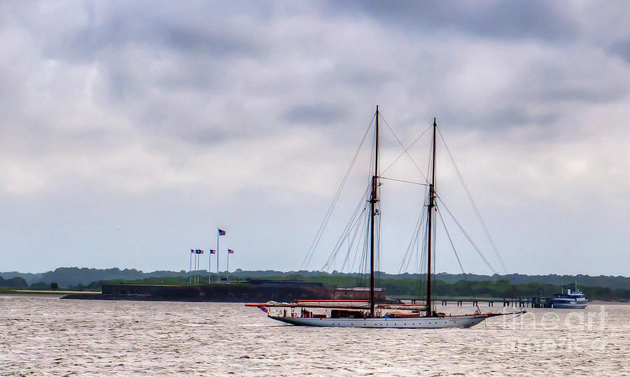Two Masted Schooner Sailing By Fort Sumter Photograph