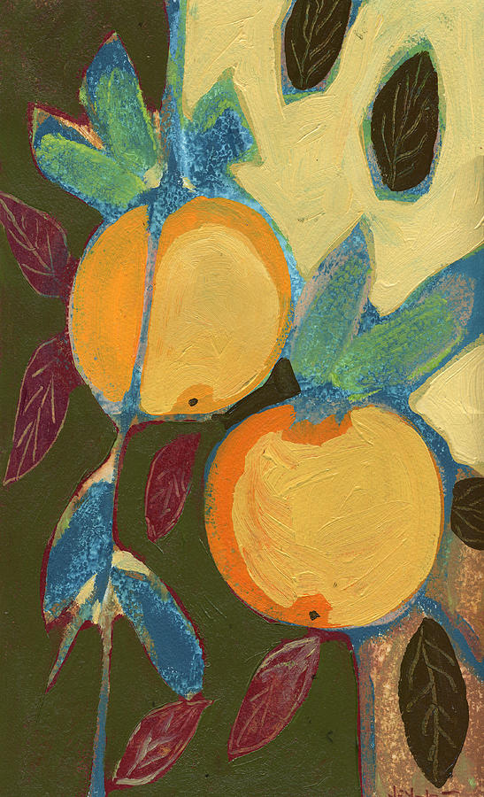 Orange Painting - Two Oranges by Jennifer Lommers