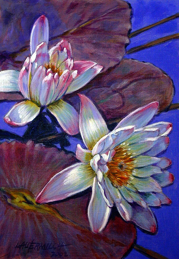Water Lilies Painting - Two Pink Water Lilies by John Lautermilch