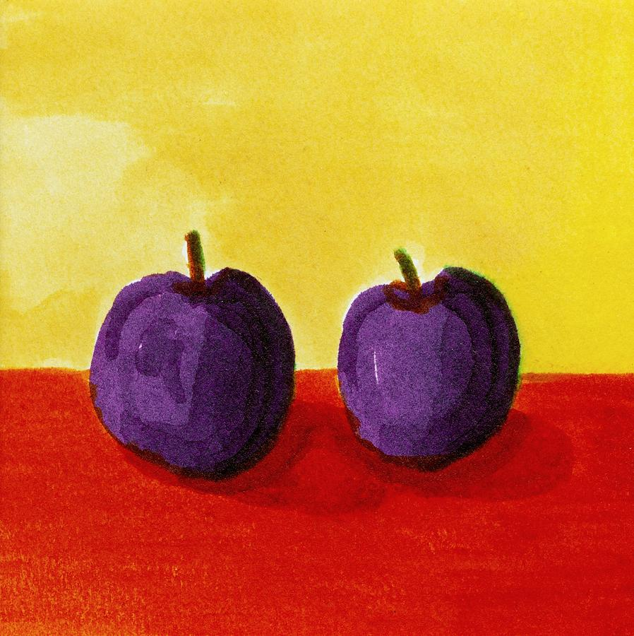 Yellow Painting - Two Plums by Michelle Calkins