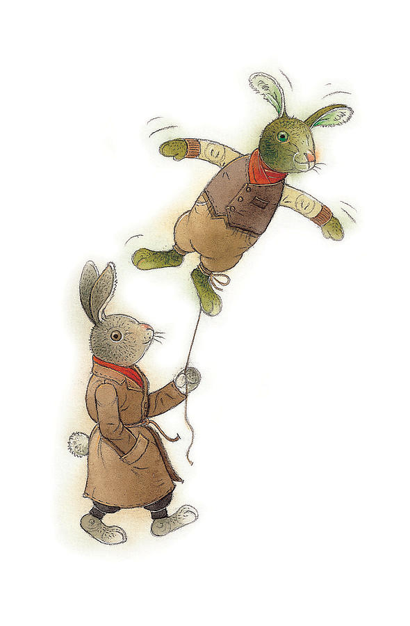 Rabbit Animals Flying Green Spring Painting - Two Rabbits 02 by Kestutis Kasparavicius