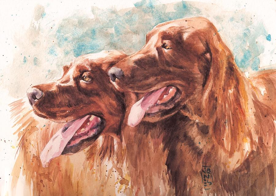 Irish Setter Dog Painting - Two Redheads by Debra Jones