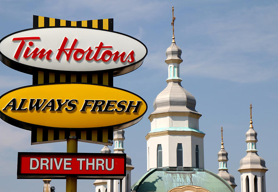 Tim Hortons Photograph - Two Religions by Andrew Fare