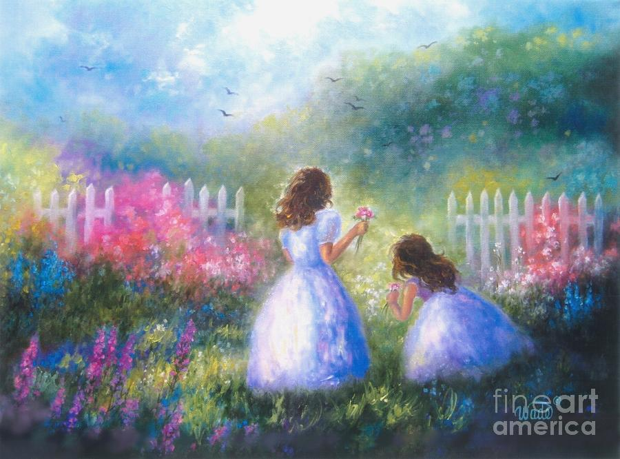 Two Sisters In The Garden Painting By Vickie Wade