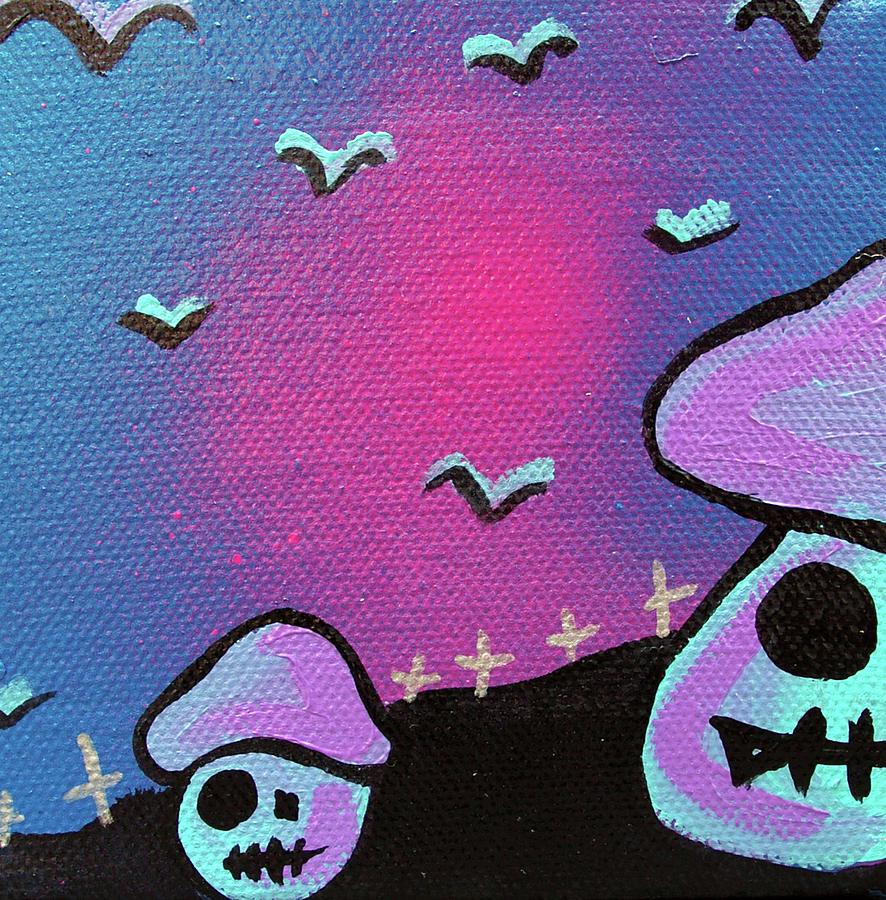 Zombie Mixed Media - Two Zombie Mushrooms by Jera Sky